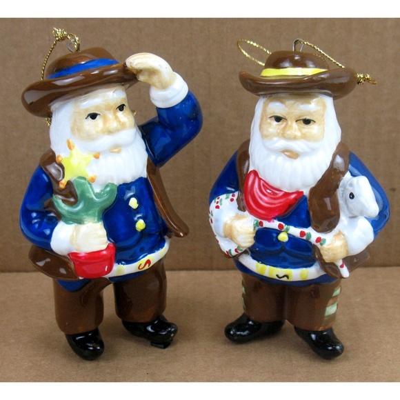 Dillard's Other - New Dillard's - Cowboy Santa Ornaments Two Pieces